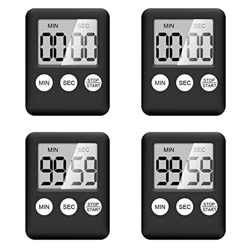 küchentimer ,4 Stück kurzzeitwecker,digitaler Timer mit magnetisch,Eieruhr küchentimer Countdown Stoppuhr zum Kochen, Fitness, Lernen (Schwarz)