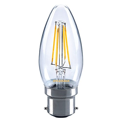 Sylvania Toledo 0027280 Rétro Bougie Lampe LED, verre, Home, clair B22, 4 Watts