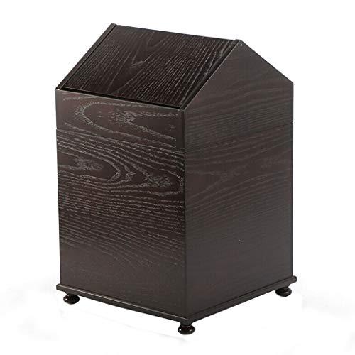 basura puede Bote de basura creativo retro, dormitorio, baño, papelera, bote de basura, funda Shake - Recipiente de almacenamiento de madera maciza, dos colores, negro / amarillo tacho de basura