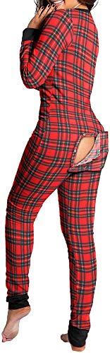 Generico Pijama Tunina para mujer, de una pieza, manga larga, con apertura trasera 3 M
