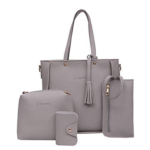 KEYIA Damen Vier Set Handtasche Vier Stücke Schultertaschen Tragetasche Crossbody Brieftasche (One size, Grau)