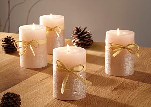 Dekoleidenschaft Wachs-Kerze Champagner, 4er Set, Creme & Gold, Ø 6 cm, Stumpenkerzen mit Langer Brenndauer, Kerzenset