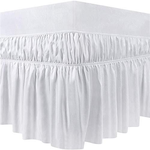 Faldas de la Cama Pliegues de Cama elásticos Alrededor de la Falda de la Cama,Falda de poliéster elástico Anti faldón de Tela Suave Sedoso Lados de la Falda de la Arruga (150 x 200 x 40 cm,Blanco)