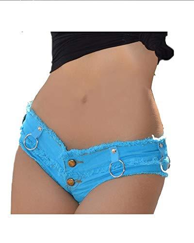Chenyuying Sexy Denim Booty Shorts Borla de Malla Empalmado Mallas Bikini Lindo Diseño de Moda Jeans Sexy Jeans Shorts Low Rise Beach Micro Mini Corto Erótico Culb Wear (Color : Black, Size : S)