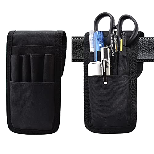 KATOLK 2 Pcs Belt Pen Holder, Multifunctional Adjustable Tactical Pencil Pouch, Detachable Military Duty Pencil Sleeve Case, Can Hold Pens, Rulers and Scissors, Black