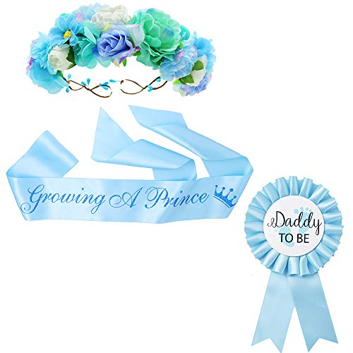"""Growing a Prince"" Sash & Flower Crown & Daddy to be Button Pin Kit - Baby Shower Sash Prince Baby Boy Shower Baby Sprinkle (Blue)"