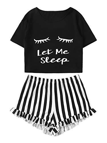 WDIRARA Women's Sleepwear Closed Eyes Print Tee and Shorts Cute Pajama Set Black M
