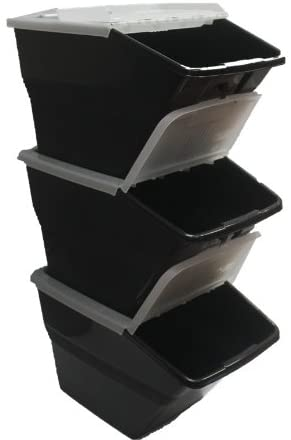 WTM BBCL- Three Pack of Stackable Bins with Hinged Lids 24 Quart Size (pack of 3)