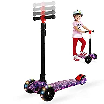 Zicosy Scooter for Kids - 3 Wheel Scooter Adjustable Height Kids Scooter,Lean to Steer with Extra-Wide PU LED Light Up Wheels for Boys & Girls from 2 Years Old and Up  Star Purple