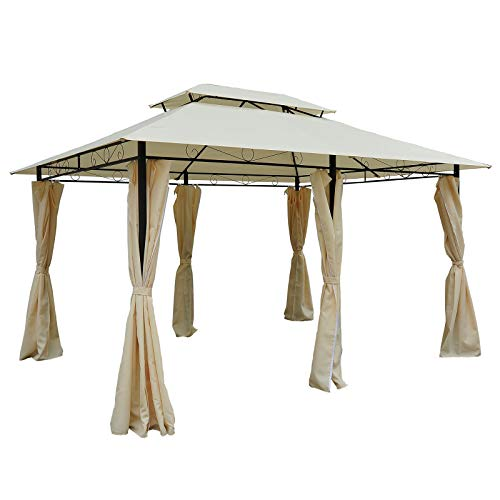 Outsunny 10' x 13' 2-Tier Steel Outdoor Garden Gazebo with Vented Soft Top Canopy and Removable Curtains, Cream White