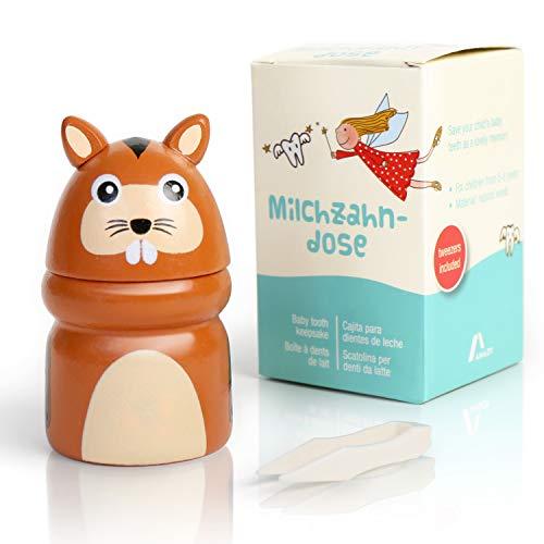 Amazy Milchzahndose inkl. Pinzette und Zahnfee Brief – Niedliche Zahndose aus Holz zur Aufbewahrung der Milchzähne und Zahnfeebrief für den ersten Wackelzahn (Klein   Tier)
