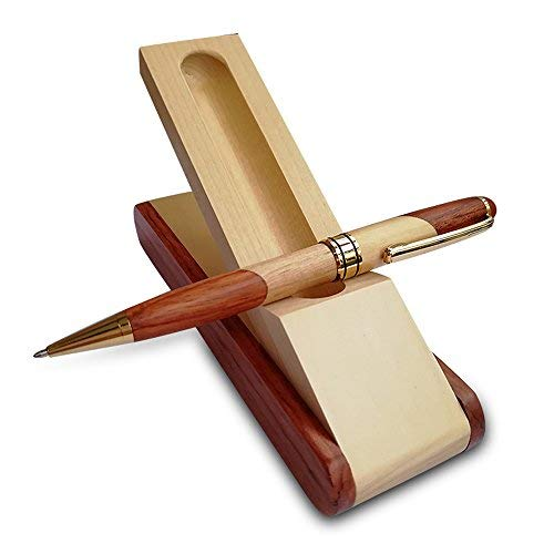 Luxury Wooden Ballpoint Pen Gift Set with Business Pen Case Display, Nice Writing Pen with Box and Gel Ink Refills