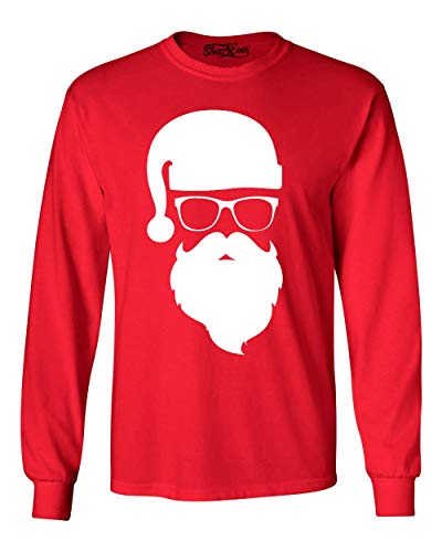 Shop4Ever Hipster Santa with Sunglasses Christmas Long Sleeve Shirt X-Large Red 0