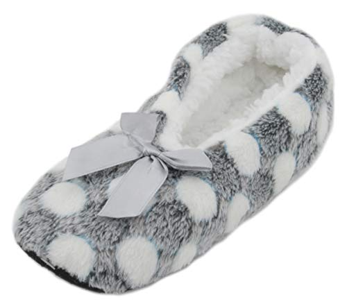 Atania Ladies Ballet Style Plush Slipper Socks Grey Dots M/L
