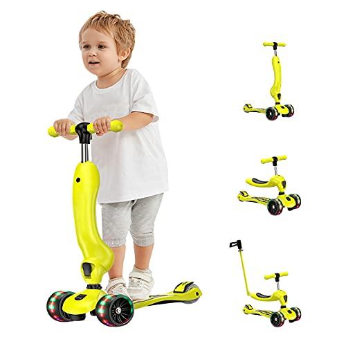 Barakara Scooter para Niños, 3 en 1 Scooter de 3 Ruedas con Asiento Extraíble y Manillar Ajustable en Altura, Patinete para Niños,Scooter para Niños de 1 Año o Más, Regalo para Niños