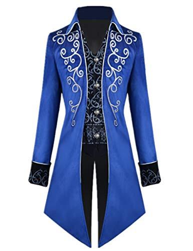 Crubelon Men's Steampunk Vintage Tailcoat Jacket Gothic Victorian Frock Coat Uniform Halloween Costume (Blue, M)