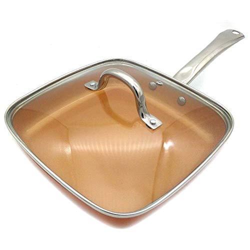 CYONGYOU Koperen pan met antiaanbaklaag, keramische coating en inductiekookplaat, oven en vaatwasser