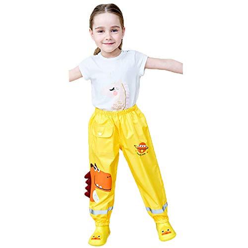Regenhose Kinder,Kinder Regenlatzhose, Wind-und wasserdichte Matschhose Atmungsaktiv Verstellbaren Trägern Regenhose für Sport, Rain Pants Mädchen Jungen