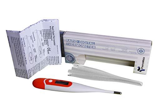 PintoMed Termometro Digitale con lettura in 10-Secondi, indicazione febbre e allarme, termometro per misurazione febbre adatto per bambini e adulti, uso orale, rettale e ascellare