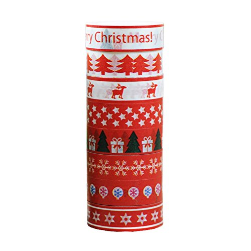 Famoby 8 Rolls Christmas pattern Decorative Washi DIY Sticker Paper Tape (1Red)