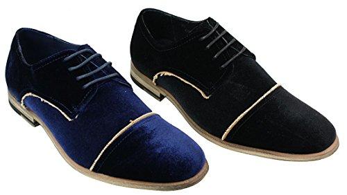Chaussures pour Homme Effet Velours avec Lacets en Bleu ou Noir Style Chic Tendance