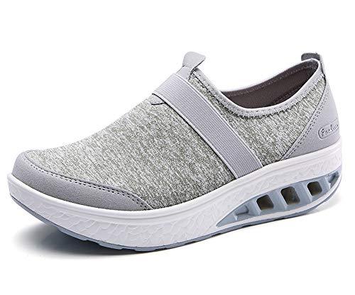 Klsyo Mujer Zapatillas de Deporte Cuña Plataforma Casual Zapato Respirable Adelgazar Fitness Sneaker