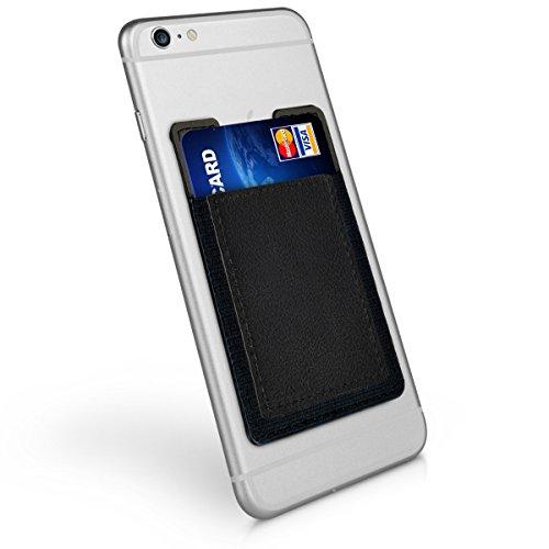 kwmobile Tarjetero para móvil - Funda para Tarjetas de Cuero sintético - Cubierta para Pegar en el Smartphone en Negro