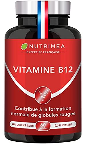 Vitamine B12 - Adapté aux Végétariens et Vegan - 1000 µg de Cyanocobalamine - Forme la Plus Stable - Nécessaire aux Fonctions Vitales, Système Nerveux, Immunité - 60 Gélules - Fabriqué en France