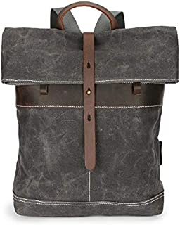 Back Pack Trim New Vintage Stylish Wholesale Bag Outdoor Travel Blank Laptop Mens Men Waxed Canvas Backpack (Color : Gray, Size : 14 inches)