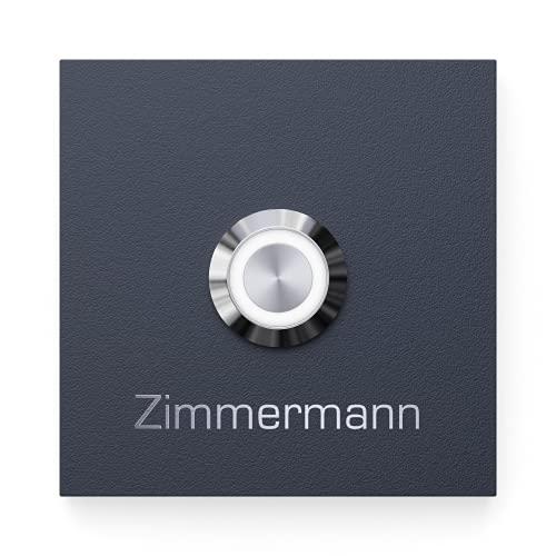 Klingelschild aus V2A Edelstahl mit Gravur von Graviers Design – Pulverbeschichtet in RAL 7016 – LED Klingeltaster – Türklingel – Made in Germany
