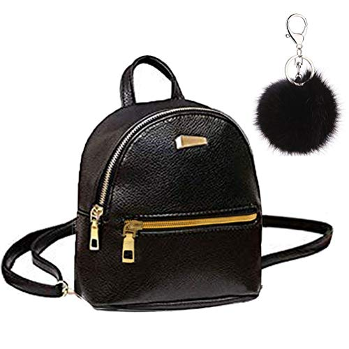 Abuyall Girl Rucksack Cute Black Small Pu Backpack Solid Cool School Multi Pouch Shoulder Bag Black S