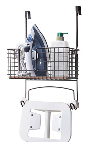 SunnyPoint Metal Wall Mount/Over The Door Ironing Board Holder with Large Storage Basket (ORB, 12' X 7' X 5.5' (Basket Size))