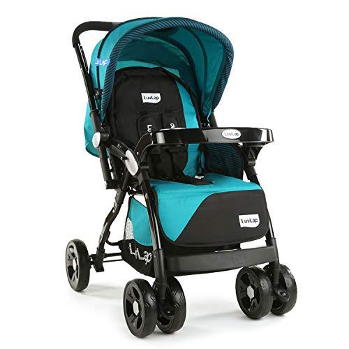 LuvLap Galaxy Stroller/Pram, Extra Large Seating Space, Easy Fold, for Newborn Baby/Kids, 0-3 Years (Green/Black)