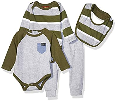 7 For All Mankind Baby Boys 4 Piece Set, Bold Stripe Olive Stripe, 3-6 Months