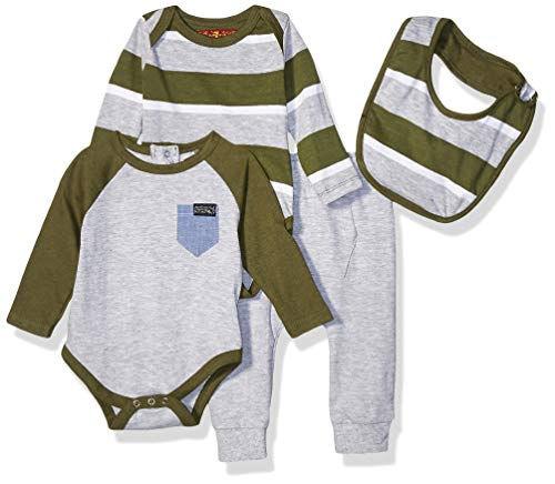 7 For All Mankind Baby Boys 4 Piece Set, Bold Stripe Olive Stripe, 0-3 Months