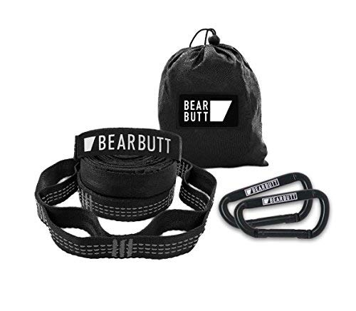 Bear Butt Kodiak Hammock Straps - 20 Feet Long - Holds 1000 Pounds from Our Extra Reinforced Triple Stitching - Get Our Hammock Tree Straps - Start Up Company (Black/Gray)