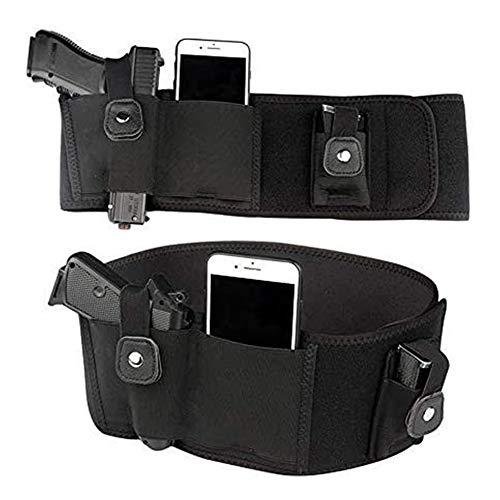 D&XQX Banda del Vientre Funda, Universal Oculted Carry Pistol Holster Tactical Elástico Pistola Funda para Glock 19, 17, 42, 43, P238, LCP,Left Hand,40 Inch