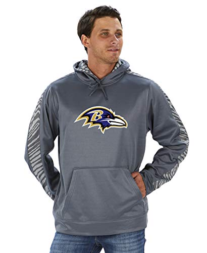 Zubaz Offizielles Lizenzprodukt der NFL Herren Grauer Pullover Hoodie Team-Farbe, Herren, NFL Baltimore Ravens Pullover Hoodie, Zebra Accent, Sm, Multi, Small