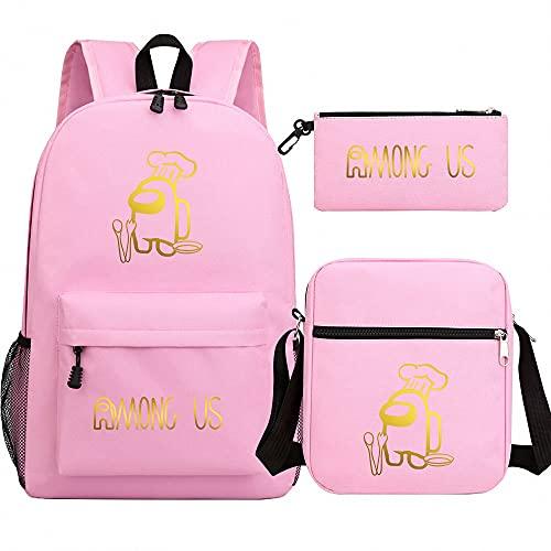 BAOYIHAI Among us Zaino per Bambini, Kinder Racksack per 3-18 Anni Zaini scolastici per Ragazzi e Ragazze con Cinture di Sicurezza