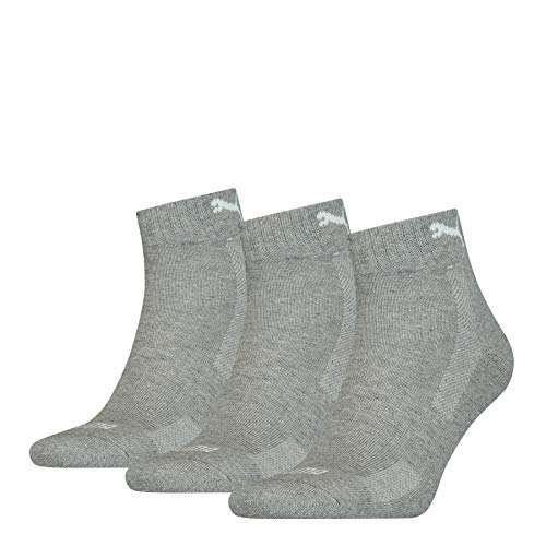 PUMA Unisex-Adult Cushioned Quarter (3 Pack) Socks, Middle Grey Melange, 43/46