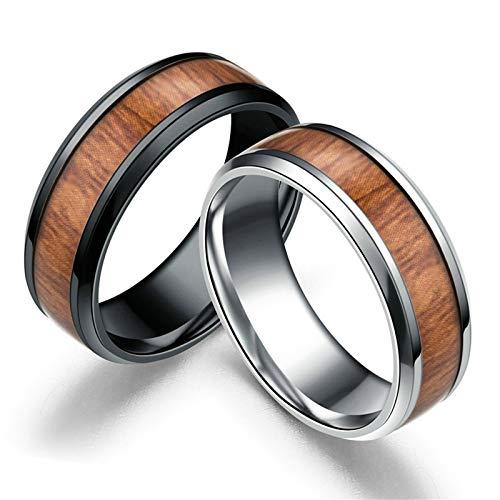 Aeici Alliance Couple Bague de Mariage Acier Motif en Bois Anneaux Argent Noir Femme 54 & Homme 64