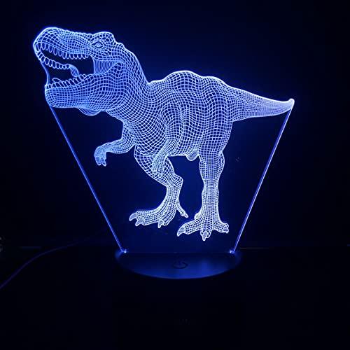 Lampara LED Dinosaurio Tiranosaurio T-Rex Cambia Color USB Luz nocturna y decoración