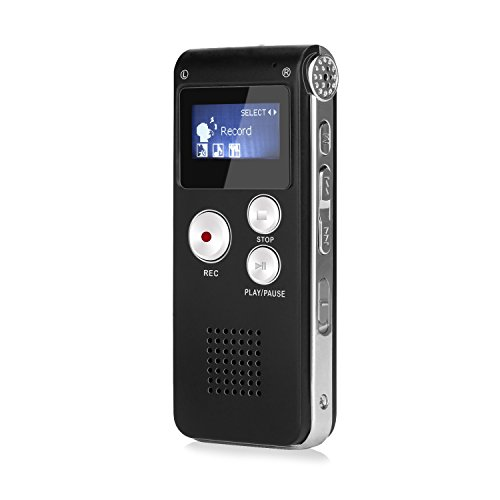 GHB 8 GB Diktiergerät Portabel, MP3 Player Stereo Digital Voice Recorder Diktiergerät mit Display LCD USB – Schwarz