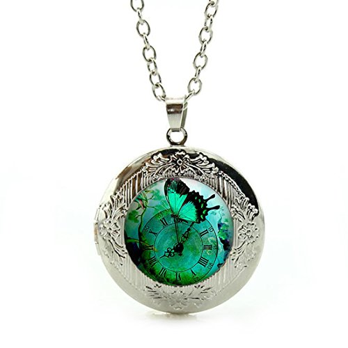 Women's Custom Locket Closure Pendant Necklace Green Butterfly Steampunk Clock Included Free Silver Chain, Best Gift Set