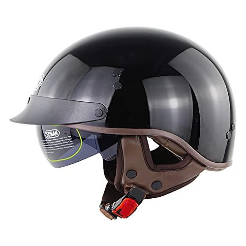 Casco de motocicleta unisex retro medio casco DOT/ECE certificado cruiser chopper scooter jet casco bicicleta deportes al aire libre casco 1,M