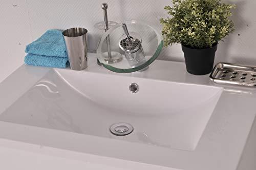 SAM Mineralgussbecken, 70 cm, Santana, Waschbecken eckig, weiß, Waschtisch mit Überlauf, ohne Unterschrank