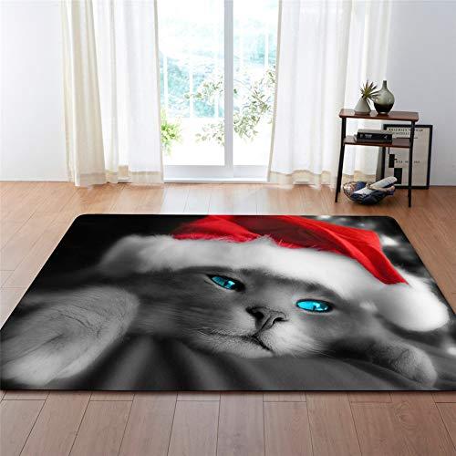 Kinntn Rugs tapijt, 3D, Nordic stijl, grote grootte, antislip, wasbaar, slijtvast, kerstmuts, kat, grijs, geschikt voor woonkamer, keuken, hal enz.