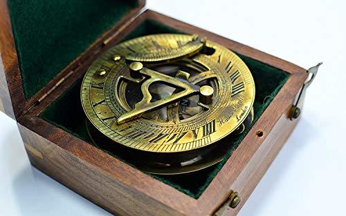 Messing rund Sonnenuhr Kompass braun antik