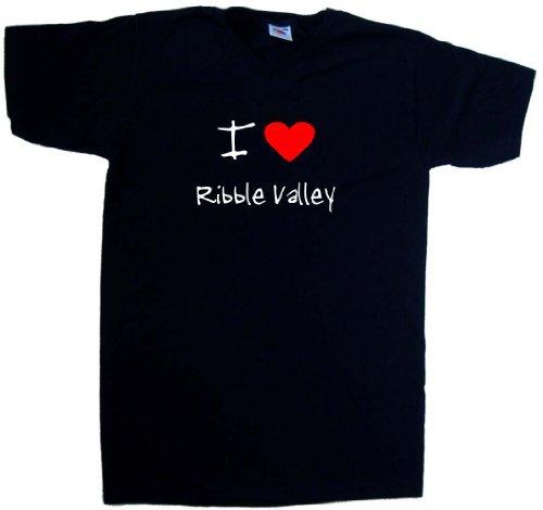 I Love Heart Ribble Valley Black V-Neck T-Shirt (White print)-Large