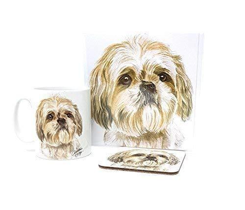 3 Stück Set Shih Tzu Shihtzu Hund Welpe Made in UK Keramiktasse Kanne Gruß Geburtstagskarte Untersetzer